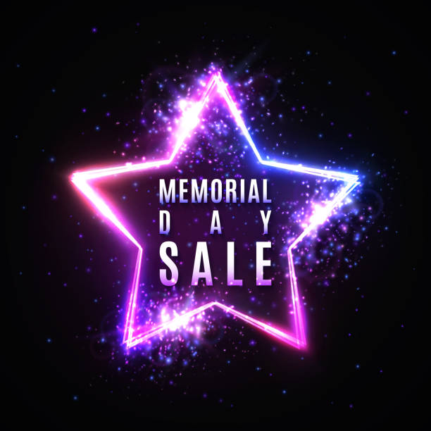 memorial day sale text in glowing star shape neon sign with particles stars light flash. discount card or flyer template. memorial day banner design. colorful vector illustration on dark background. - memorial day weekend stock illustrations
