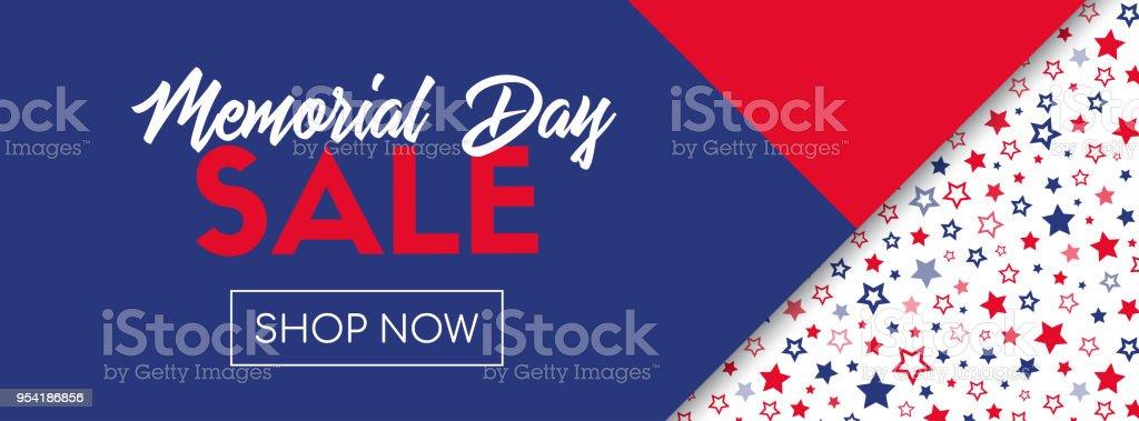 Memorial day sale vector banner template vector art illustration
