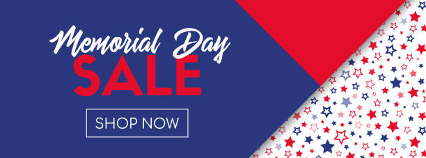 memorial day sale vector banner template - memorial day stock illustrations