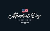 Memorial Day text with lettering \