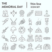 Memorial day thin line icon set, holiday symbols collection, vector sketches, logo illustrations, patriotic army signs linear pictograms package isolated on white background, eps 10