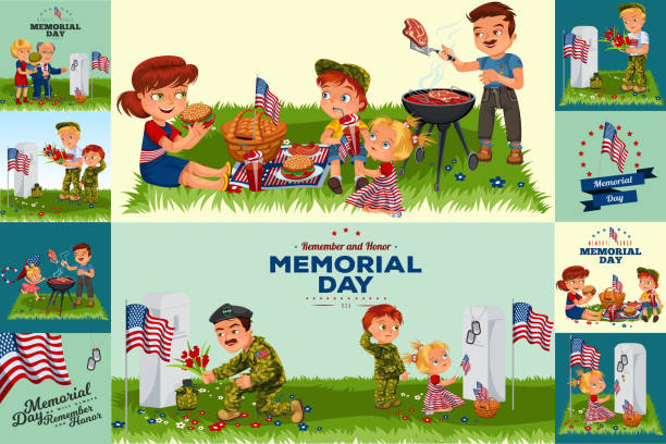 Best Military Family Illustrations Royalty Free Vector