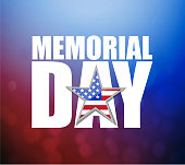 memorial day Us holiday sign over a colorful red and blue