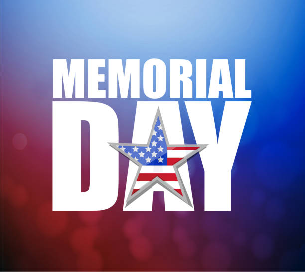 memorial day us holiday sign over a colorful red and blue - alphabet clipart stock illustrations