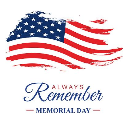 Memorial day USA, Grunge textured American flag. Vector