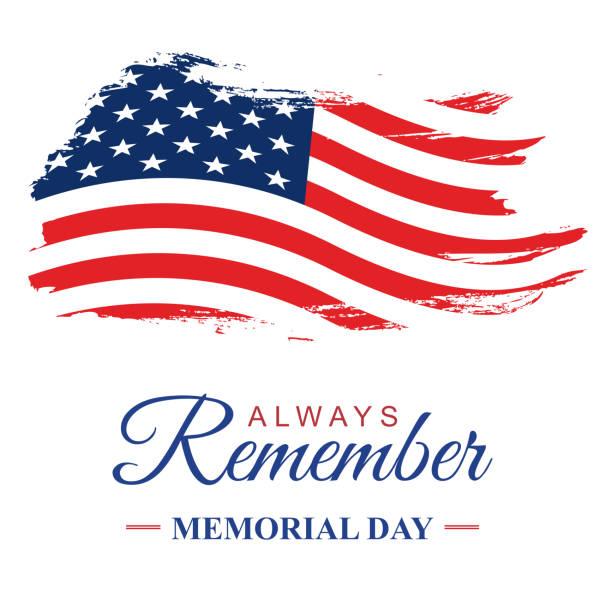 день памяти сша, гранж текстурированный американский флаг. вектор - memorial day stock illustrations