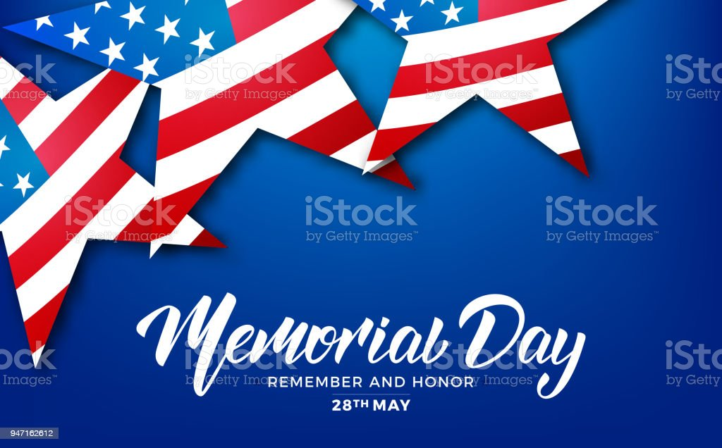 Memorial Day. USA Memorial Day card with lettering and stars of USA flag vector art illustration