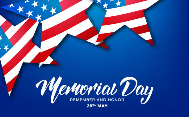 memorial day. usa memorial day card with lettering and stars of usa flag - memorial day stock illustrations