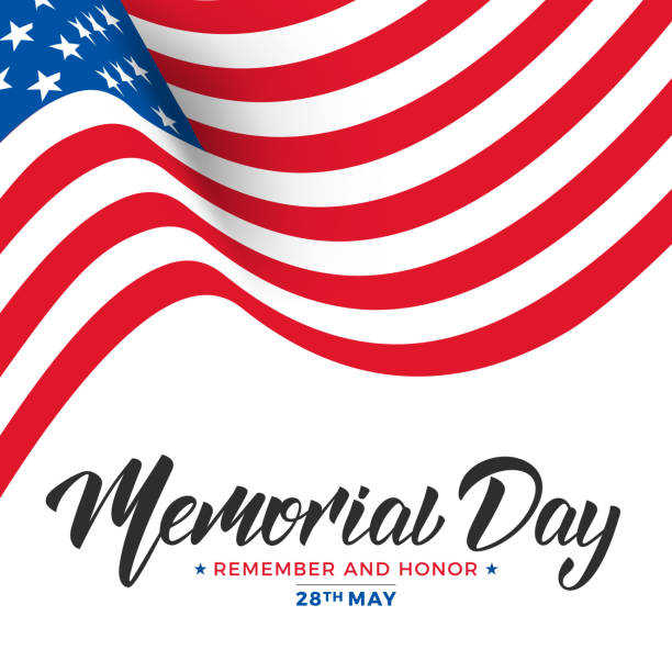 memorial day. usa memorial day card with lettering and waving flag of usa - memorial day stock illustrations, clip art, cartoons, & icons