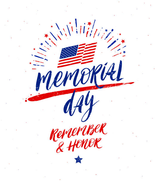 memorial day vector illustration. handwritten lettering and fireworks burst. design for poster, greeting card, banners or t-shirt print. - memorial day stock illustrations