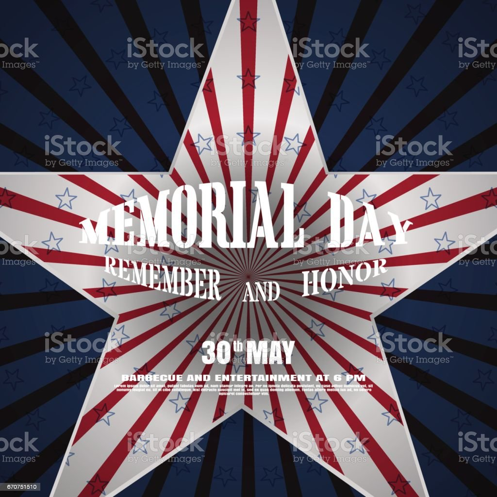 memorial day vector poster with convex text cutout in the shape of