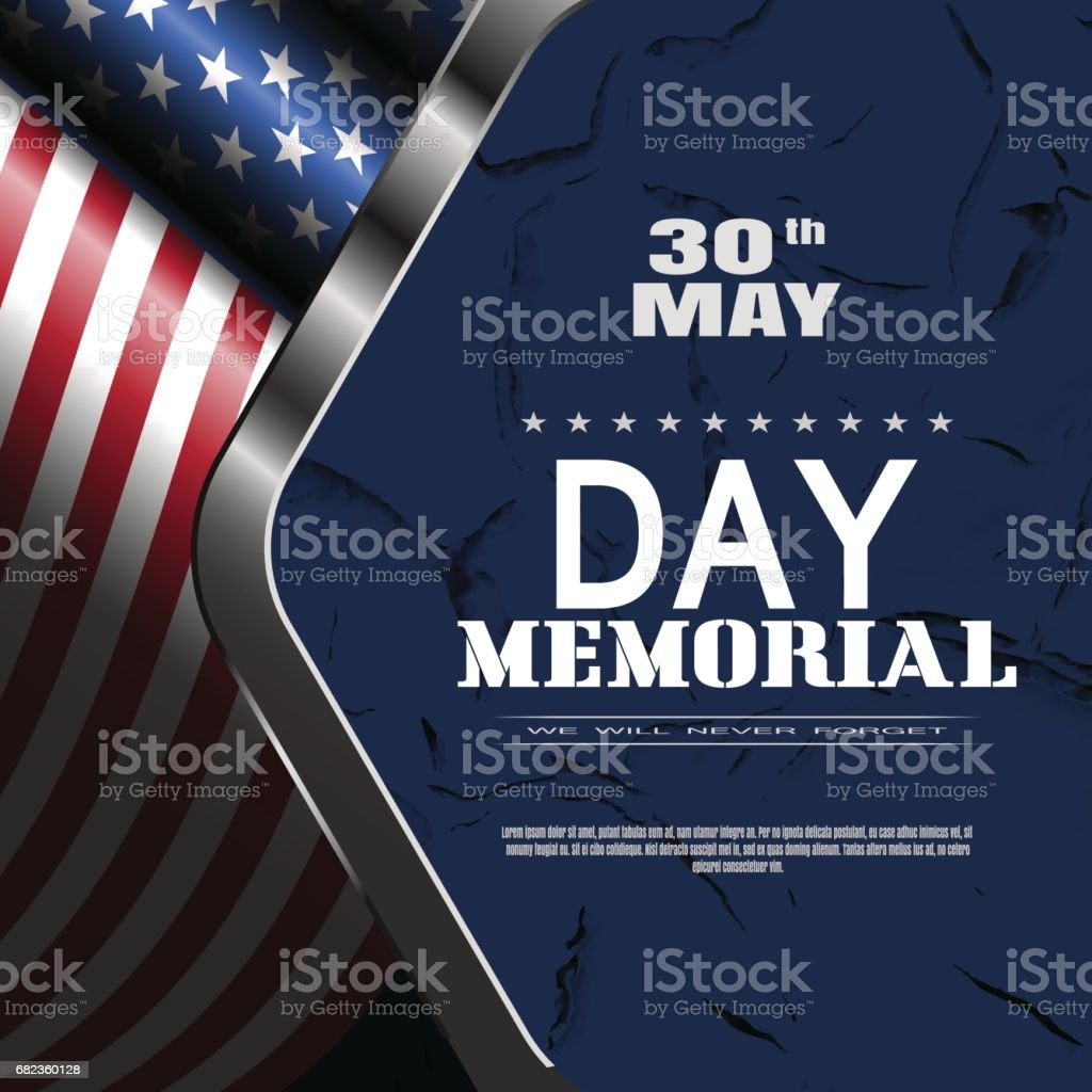 Memorial Day vector poster with text, shadow, glow on the dark blue background with metal frame, american flag and pattern of cracked paint. memorial day vector poster with text shadow glow on the dark blue background with metal frame american flag and pattern of cracked paint - stockowe grafiki wektorowe i więcej obrazów ciemny royalty-free