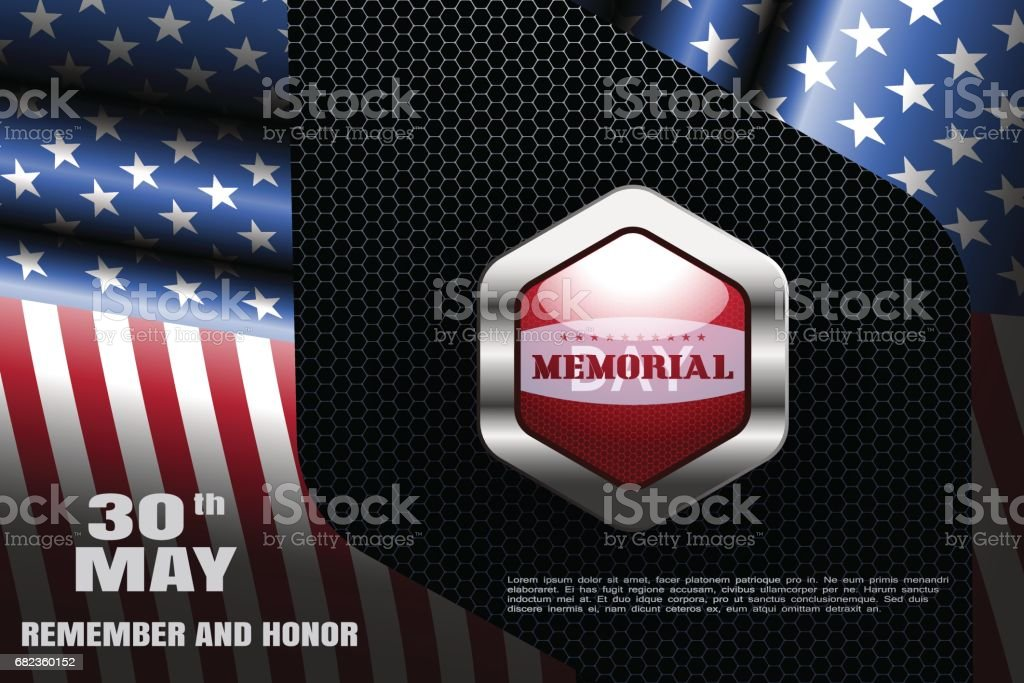 Memorial Day vector wide poster with metal red label with shadow on the dark background with hexagon pattern and frame from american flags. memorial day vector wide poster with metal red label with shadow on the dark background with hexagon pattern and frame from american flags - stockowe grafiki wektorowe i więcej obrazów cień royalty-free