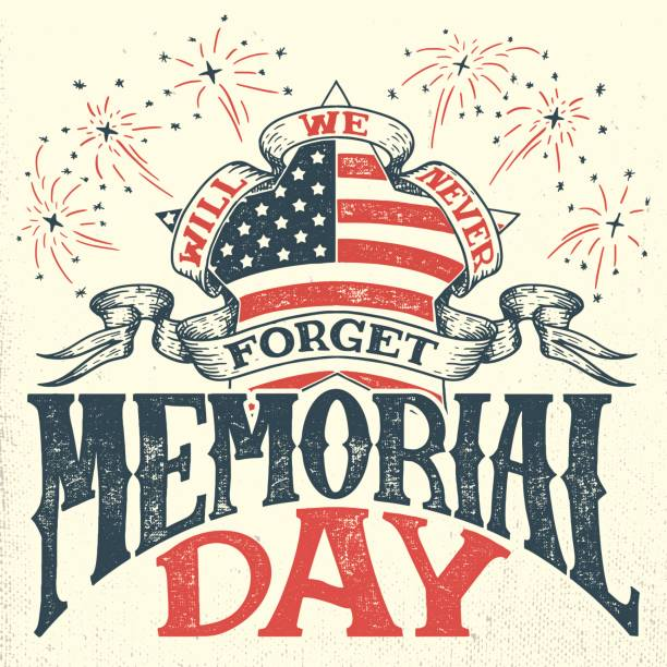 memorial day vintage greeting card - memorial day weekend stock illustrations