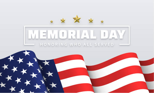 memorial day. white greeting poster with usa flag. - american flag background stock illustrations