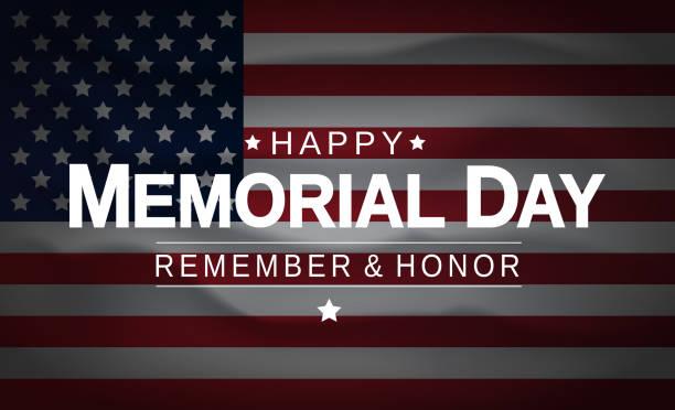 ilustraciones, imágenes clip art, dibujos animados e iconos de stock de memorial day con fondo de bandera estadounidense de estados unidos. recuerda y honra. ilustración vectorial. - memorial day