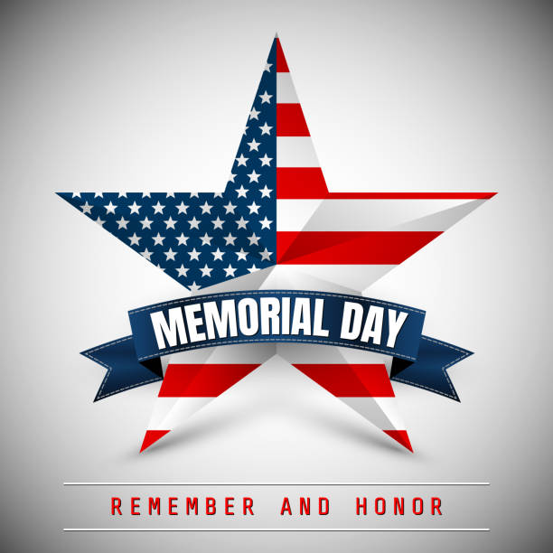 memorial day with star in national flag colors - happy 4th of july stock illustrations