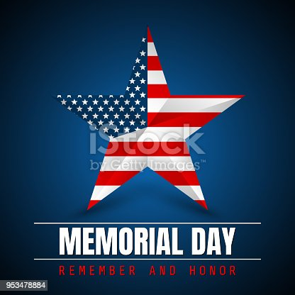 istock Memorial Day with star in national flag colors 953478884