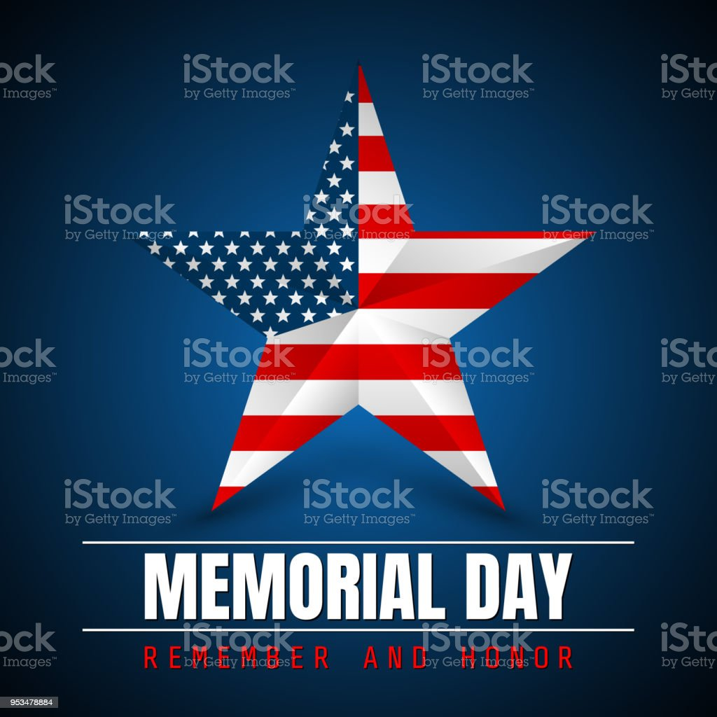 Memorial Day with star in national flag colors vector art illustration