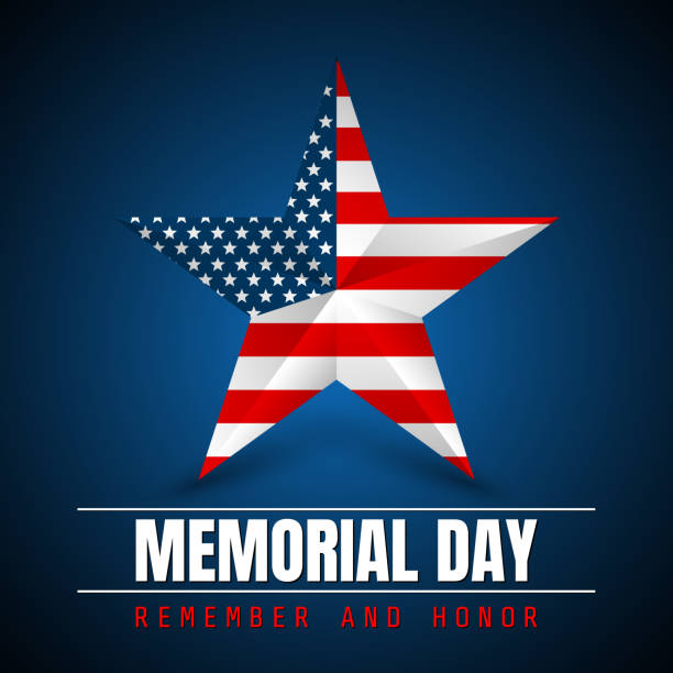 memorial day with star in national flag colors - memorial day stock illustrations