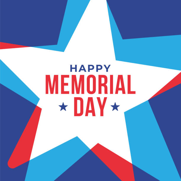 memorial day with stars in national flag colors. - memorial day stock illustrations