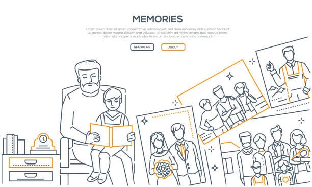 思い出 - ライン設計スタイル バナー - 家族写真点のイラスト素材/クリップアート素材/マンガ素材/アイコン素材
