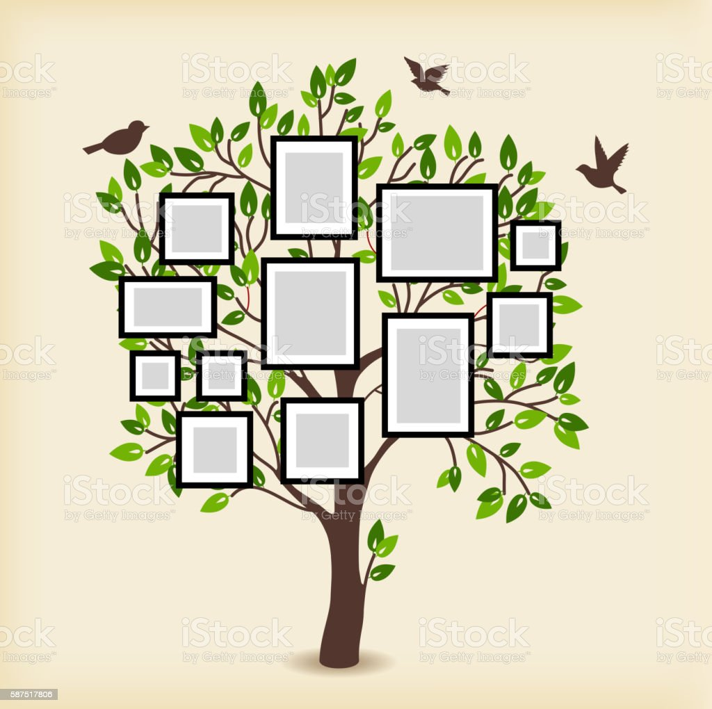 Memories tree with frames - ilustración de arte vectorial