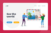 istock Memory After Traveling Landing Page Template. Tiny Characters Holding Huge Postcard with Tropical Beach and Palm Trees 1265316423