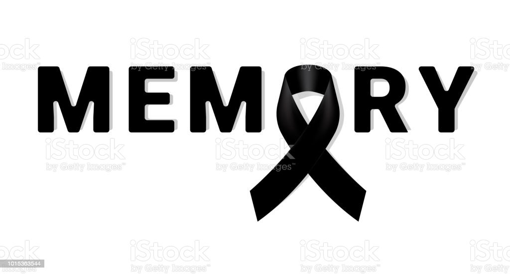 Memory Black Awareness Ribbon On White Background Mourning Symbol