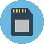 Memory Card Colored Vector Icon
