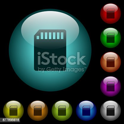 istock SD memory card icons in color illuminated glass buttons 877895618