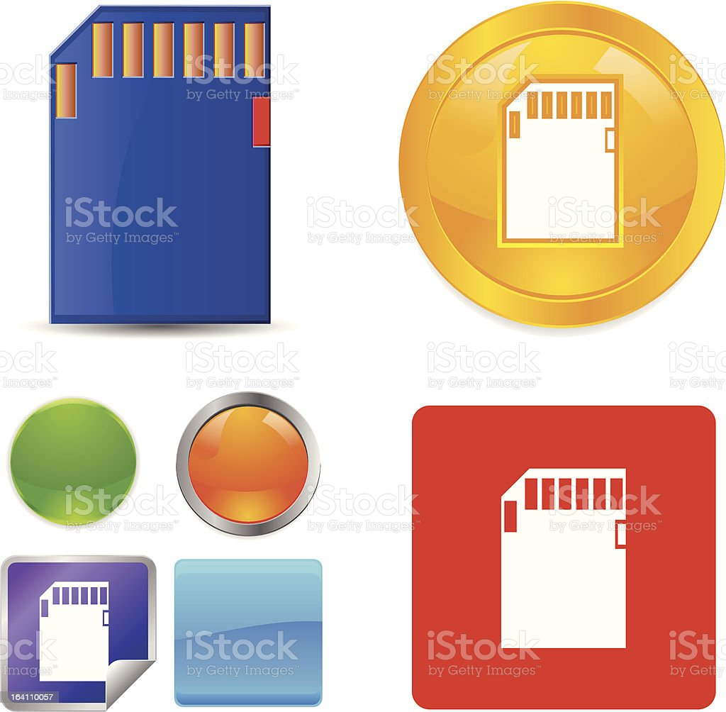 SD Memory Card vector icons royalty-free sd memory card vector icons stock vector art & more images of blue