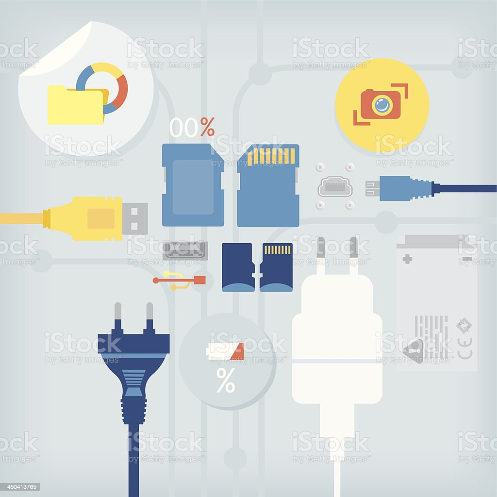 memory cards and electric cable royalty-free stock vector art