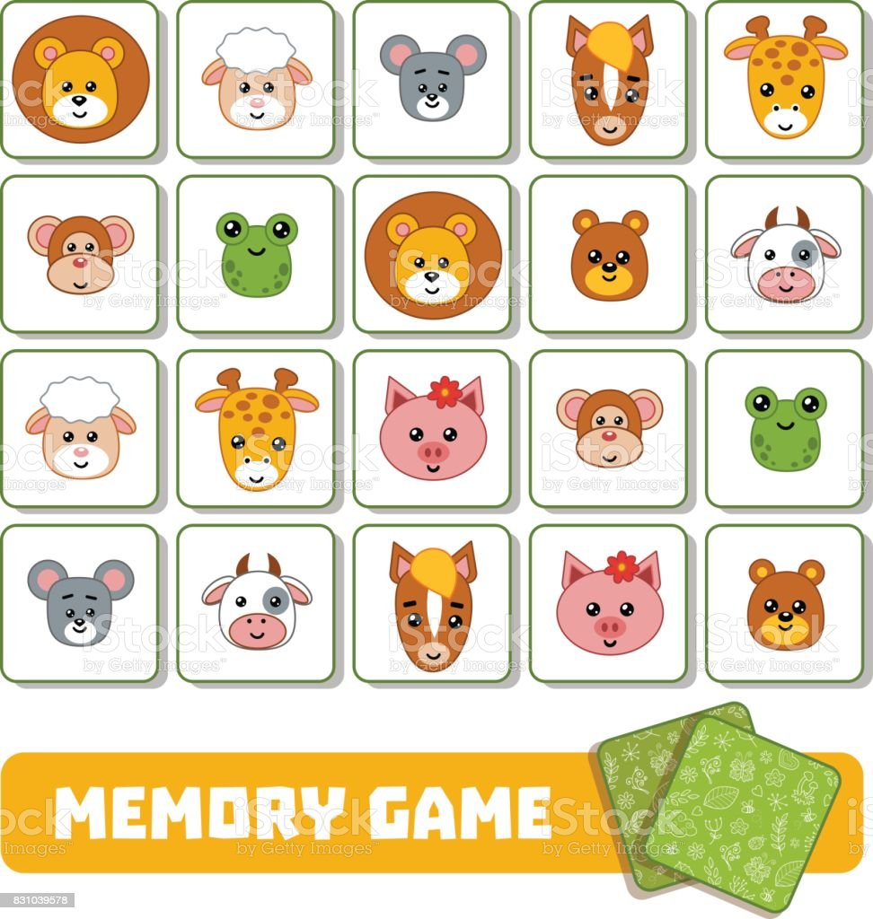 Memory Game For Children Cards With Animals Stock Vector Art & More ...