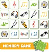 Memory game for children, cards with musical objects
