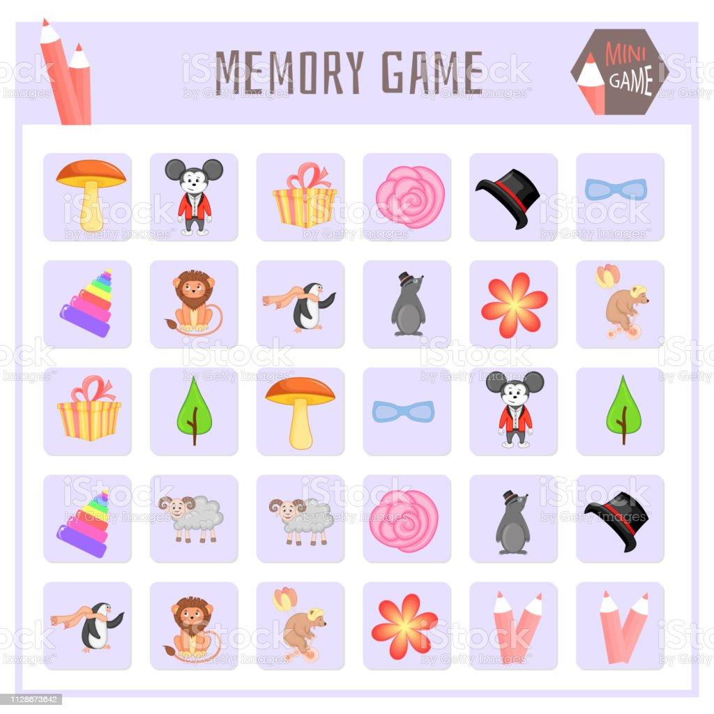 Jogo da memória para crianças, animais mapas gráficos vetoriais - ilustração de arte em vetor
