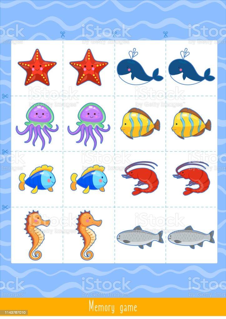Vector illustration of Memory Game for Kids. Educational children...
