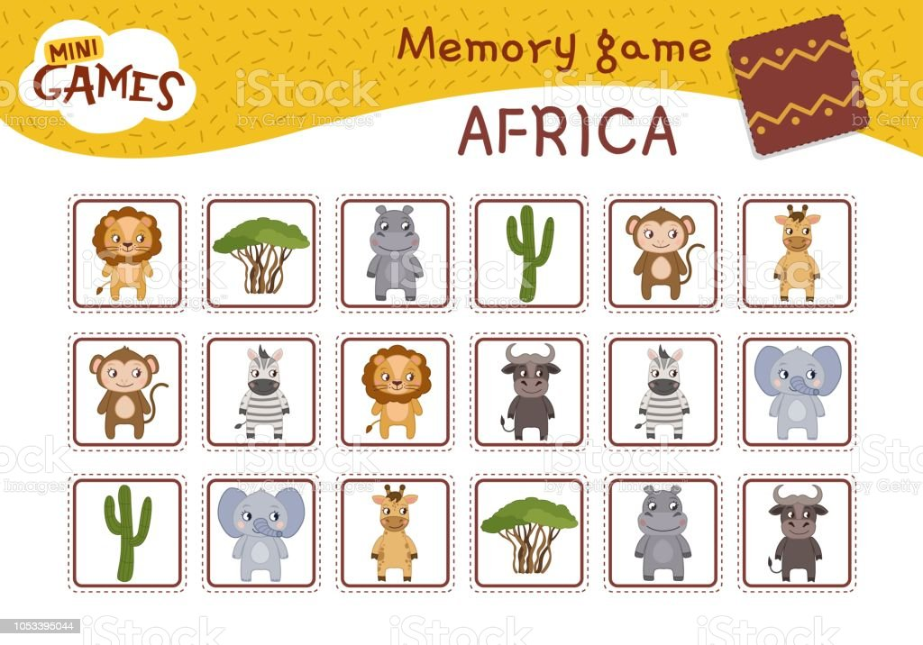 Memory game for preschool children, vector cards with african animals...