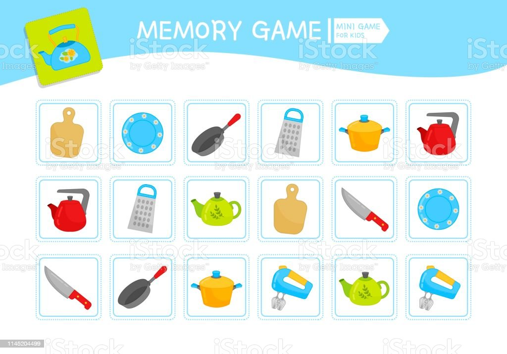 Memory game for preschool children, vector cards with cartoon dishes....