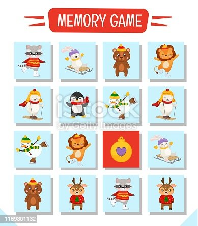 Memory game for preschool children, vector cards with cute christmas character. Find two identical picture. Kids activity page for book.