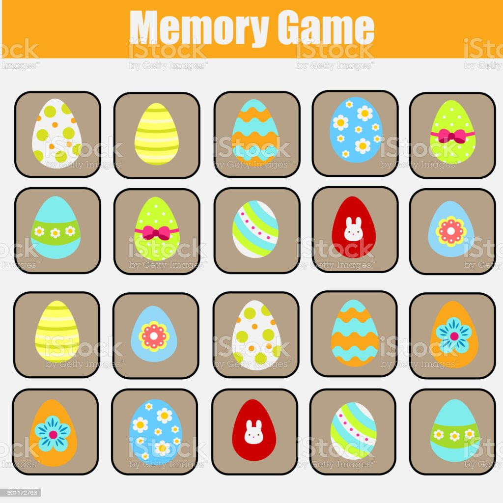 Memory game for toddlers. Educational children game. Easter theme....