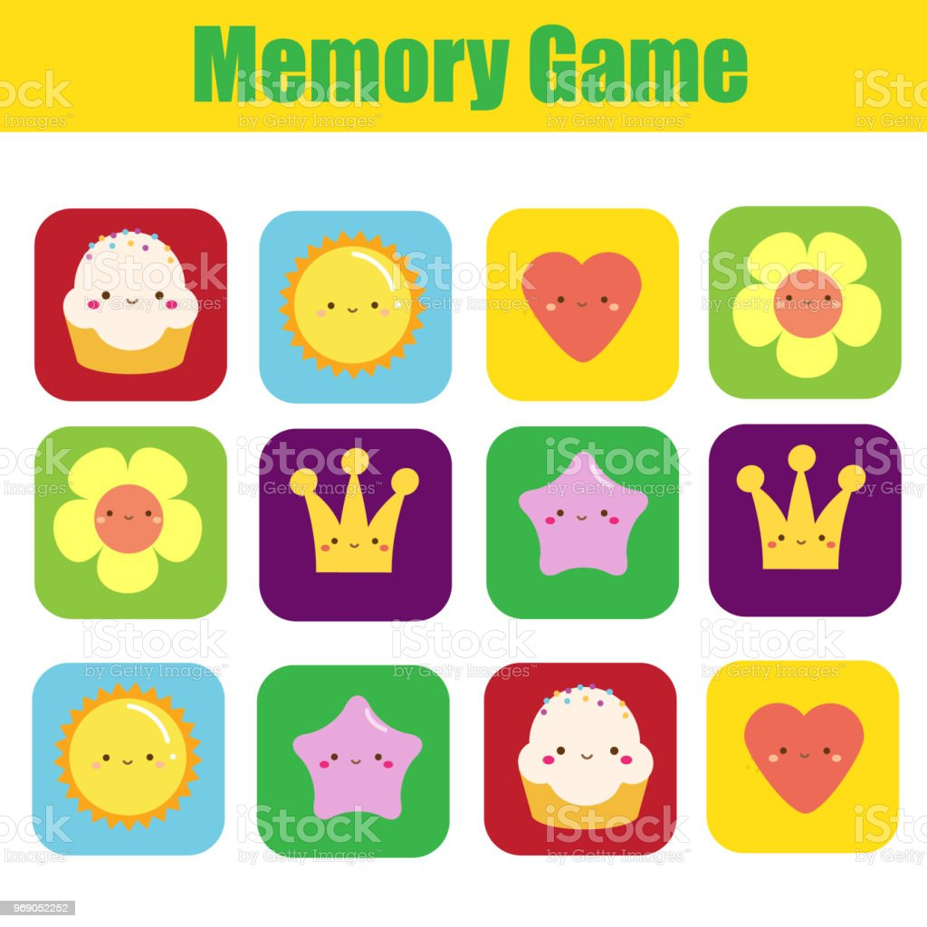 Memory Game For Toddlers With Cute Symbols Educational Activity For