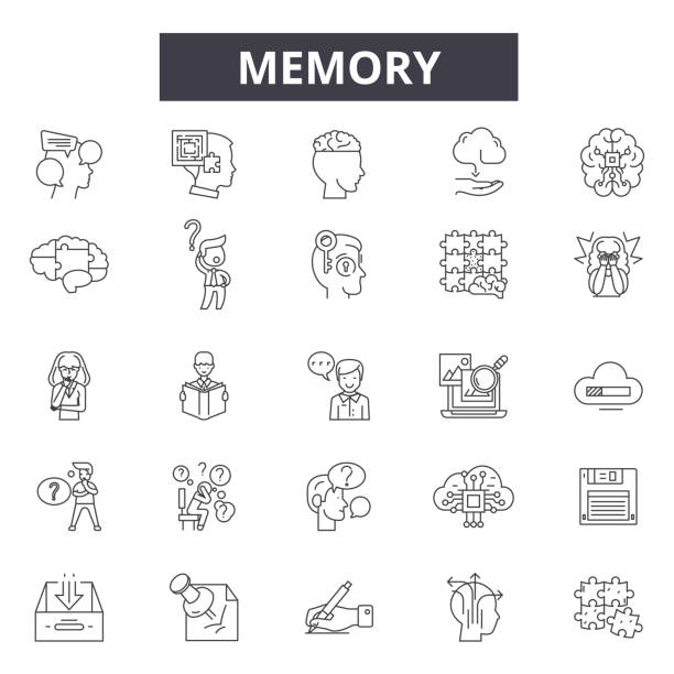 Memory line icons, signs, vector set, linear concept, outline illustration Memory line icons, signs, vector set, outline concept linear illustration neurodegenerative disease stock illustrations