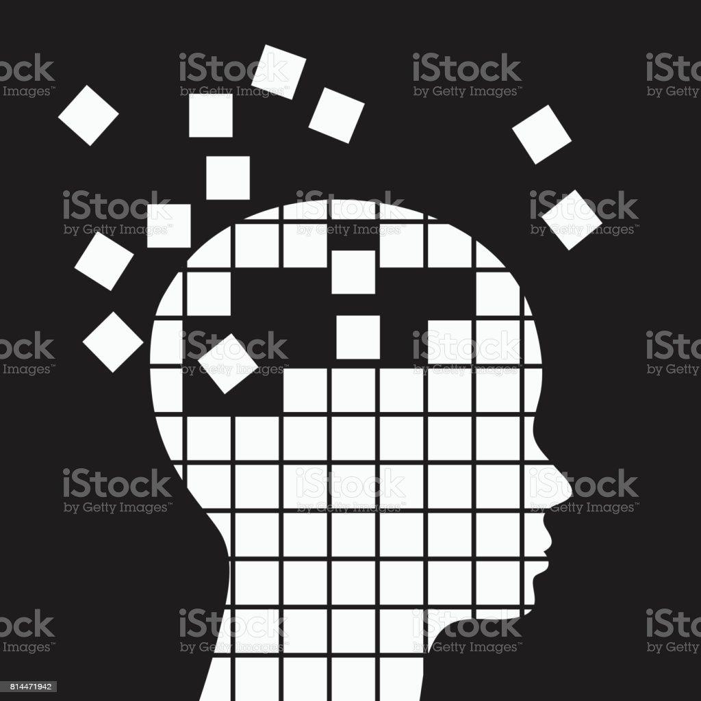 Perte de mémoire, illustration de vecteur pour le concept des problèmes neurologiques. - Illustration vectorielle
