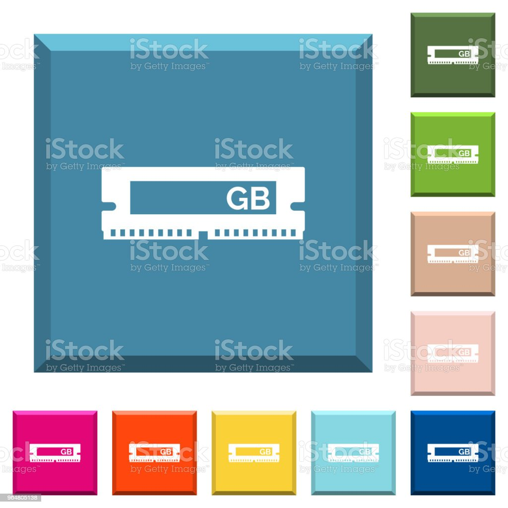 RAM memory module white icons on edged square buttons royalty-free ram memory module white icons on edged square buttons stock vector art & more images of byte