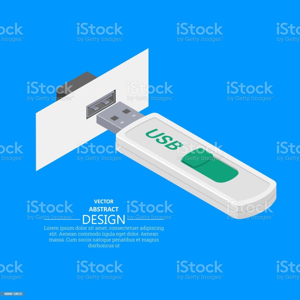 USB memory stick vector art illustration