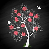 Memory tree illustration with pink flowers