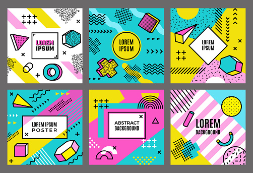 Memphis cards template. Abstract fashion 90s geometrical forms background line dots circles triangles shapes vector minimalistic