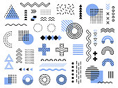 Memphis design elements. Retro funky graphic, 90s trends designs and vintage geometric print illustration element vector collection