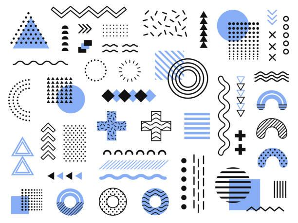 elementy projektu memphis. retro funky graficzny, 90s trendy wzory i vintage geometryczny druk ilustracji element kolekcji wektor - grupa przedmiotów stock illustrations